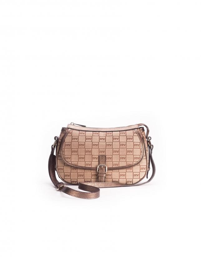 NATALIA ARENA: Bronze jacquard and leather shoulder bag