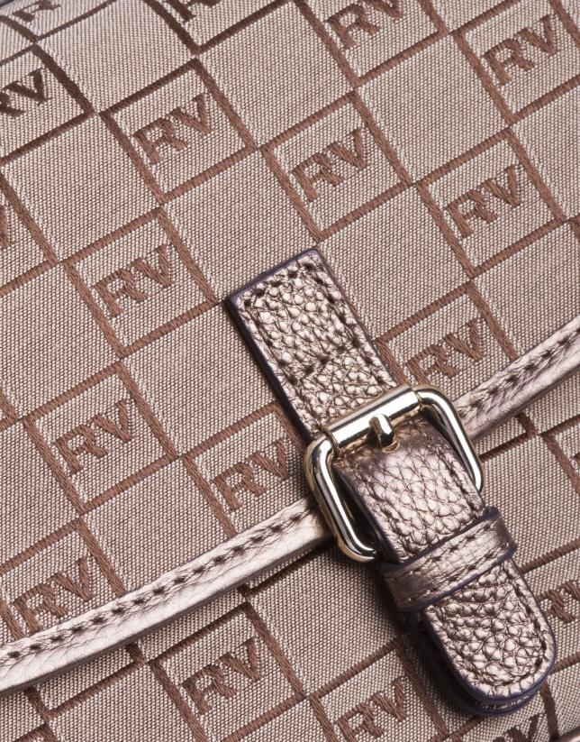 NATALIA ARENA: Sac bandoulière jacquard RV et cuir bronze