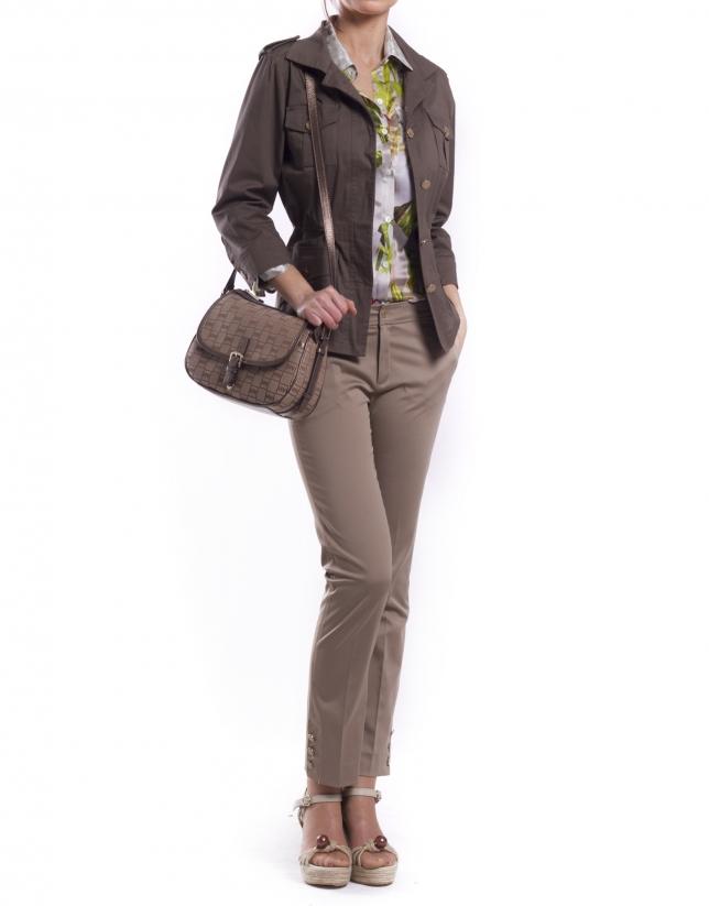 NATALIA ARENA: Bandolera en jaquard RV y piel en bronce