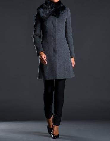 Grey rabbit fur coat