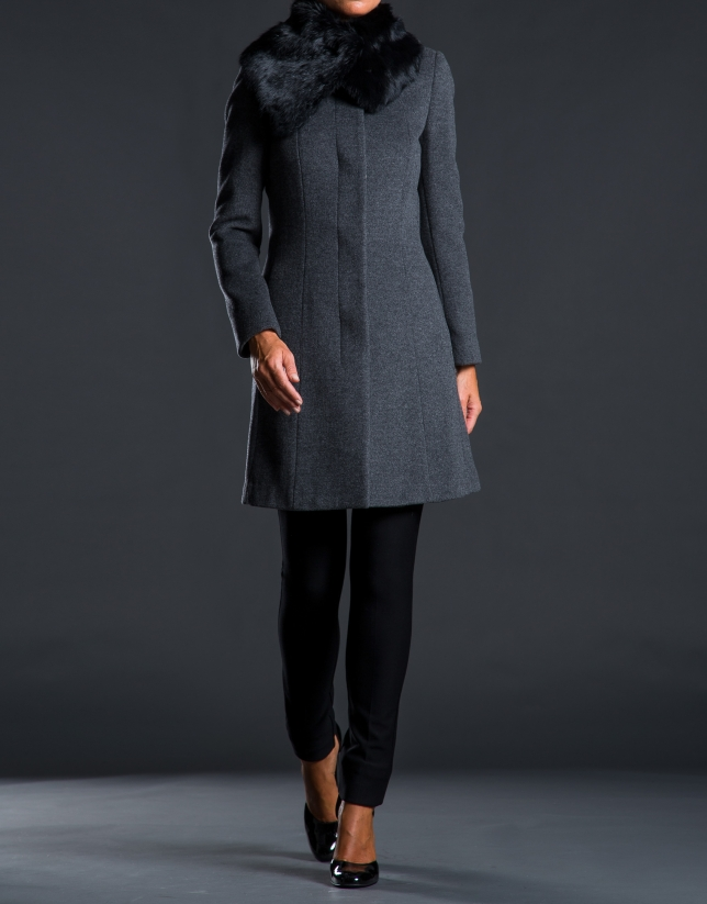 Grey rabbit fur coat