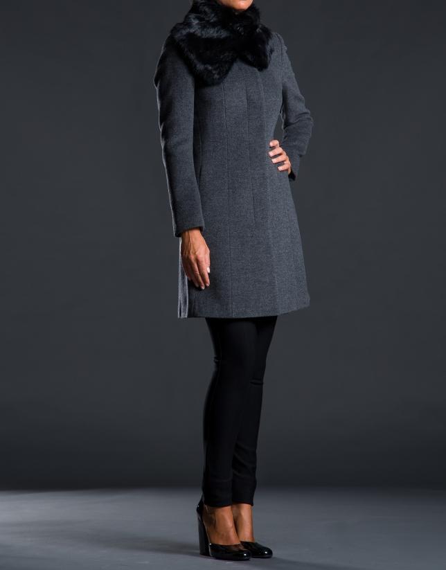Abrigo gris pelo conejo