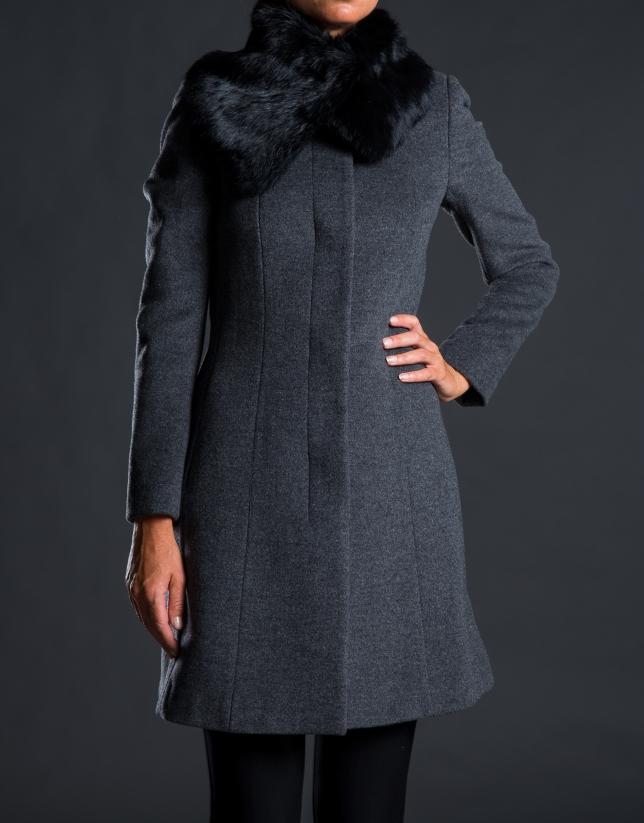 Manteau fourrure lapin gris