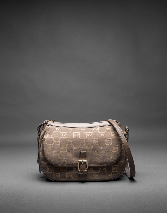 Cowhide, jacquard and gilded lurex Natalia bag with RV logo
