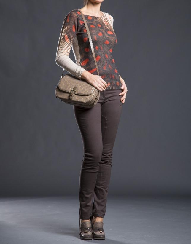 Sac bandoulière Natalia Jacquard RV gris taupe avec lurex or et cuir vachette