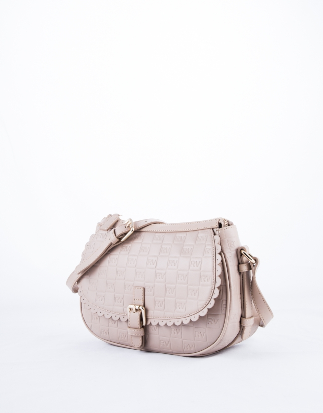 Nude Natalia Onda leather shoulder bag with embossed logo
