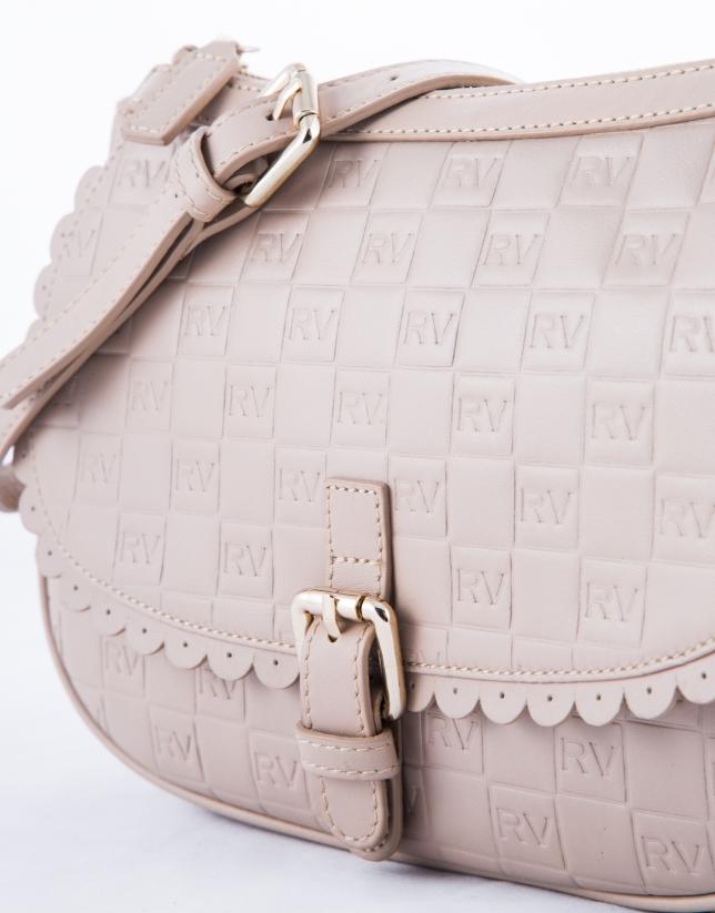 Natalia Onda : sac bandoulière en cuir vachette, couleur nude, gravure RV
