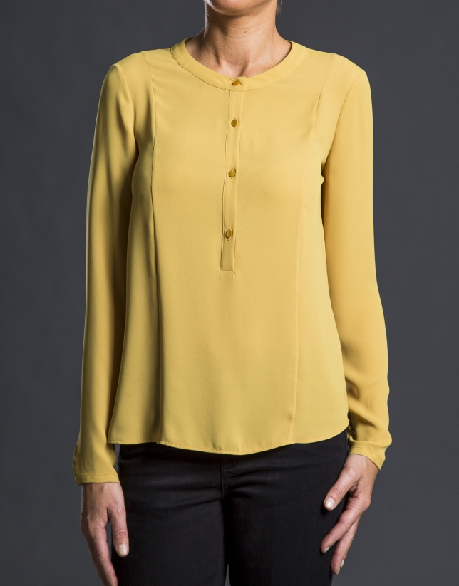 Chemise col rond moutarde