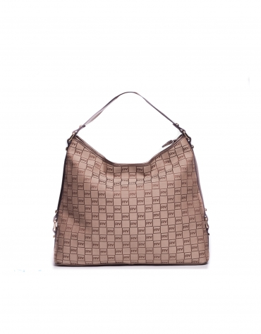 LAURA ARENA: Bronze jacquard and leather hobo bag