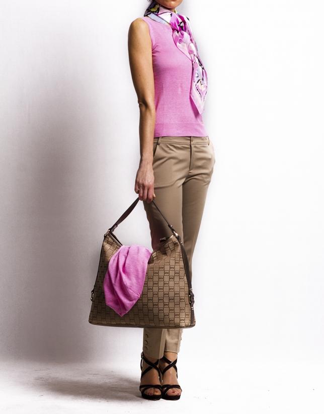 LAURA ARENA: Bronze jacquard and leather hobo bag