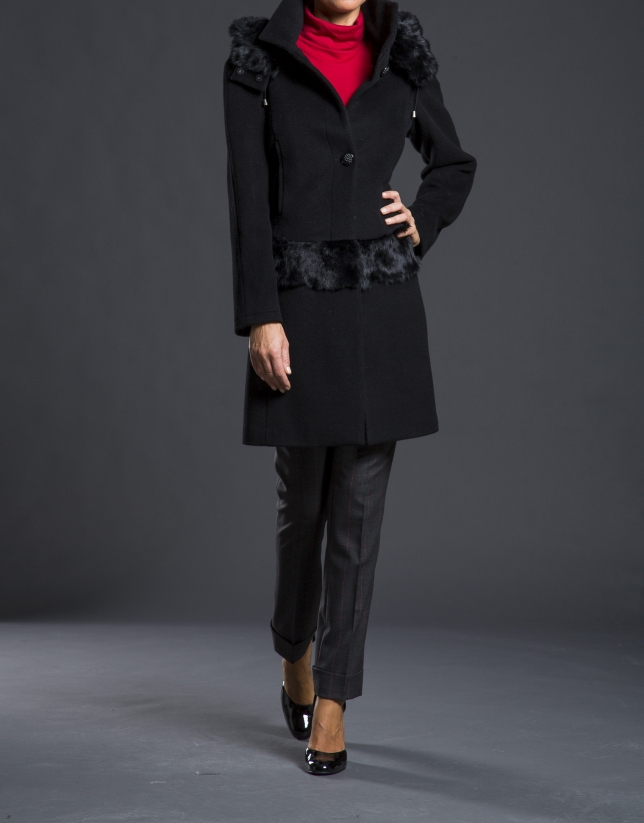 Black fantasy duffle coat with hood