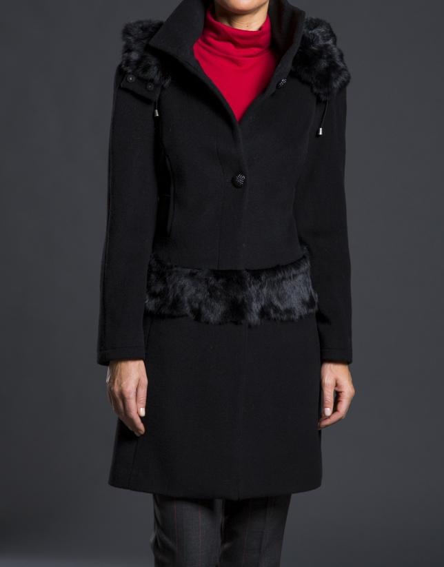 Black fantasy duffle coat with hood