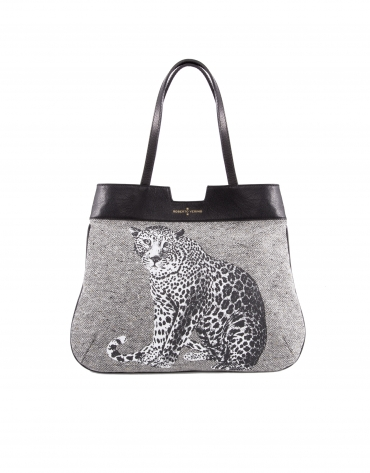 Sac Birdy Stone en tissu laineux, léopard imprimé.