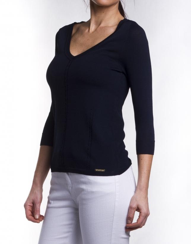 Jersey manga larga cuello en V