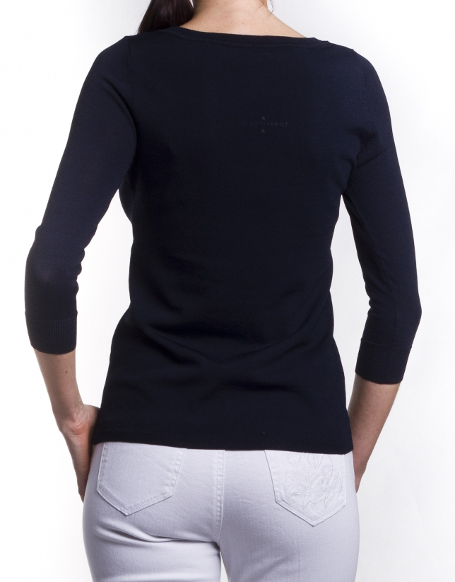 Long sleeve V neck jersey