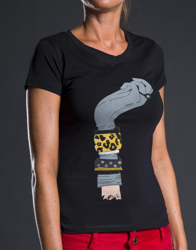 Tee-shirt à motifs et pierreries noir