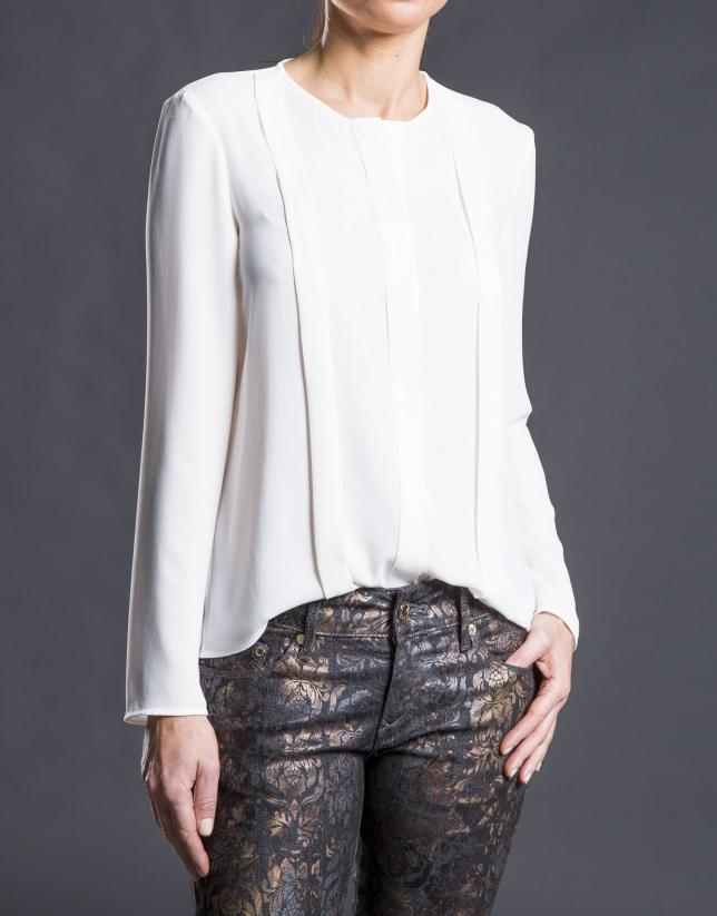 Cream chiffon pleated shirt
