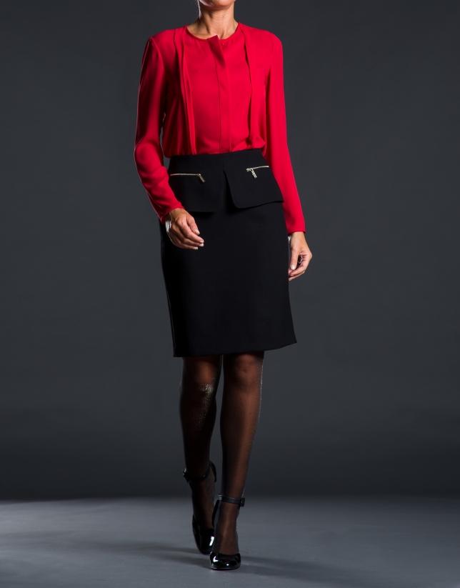 Red chiffon pleated shirt