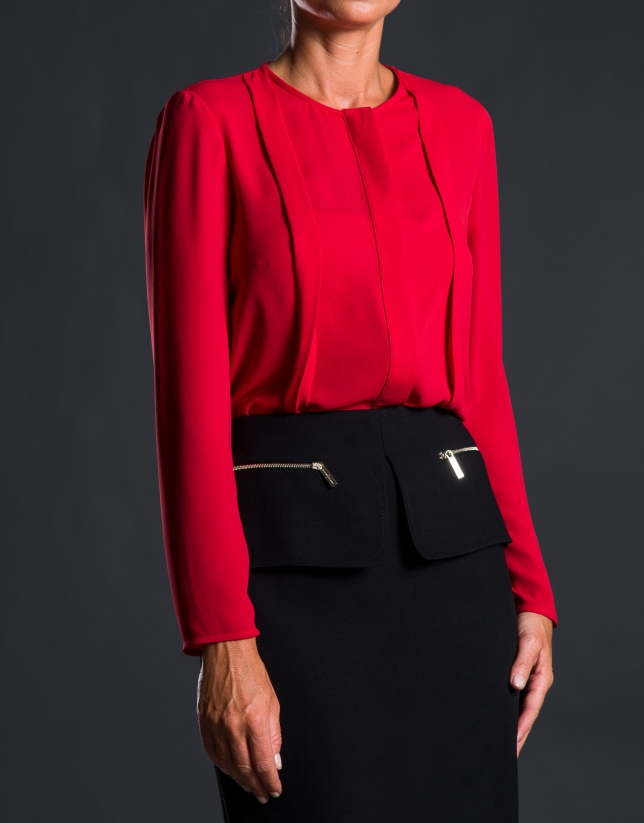 Red chiffon pleated shirt