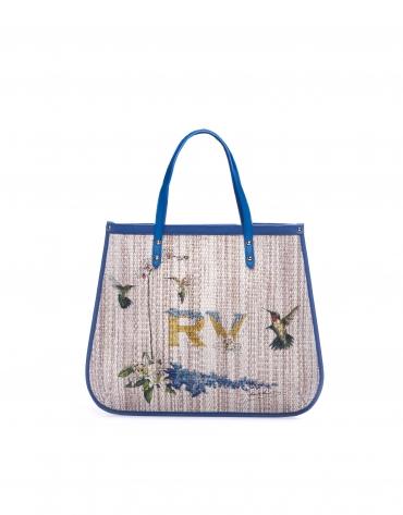 BIRDY Shopping raphia imprimé et cuir bleu