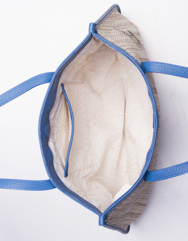 BIRDY:  Print raffia and blue leather shopping bag