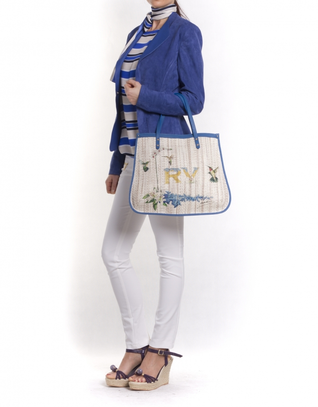 BIRDY:  Print raffia and blue leather shopping bag