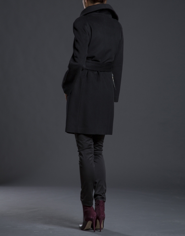 Black coat with large collar
