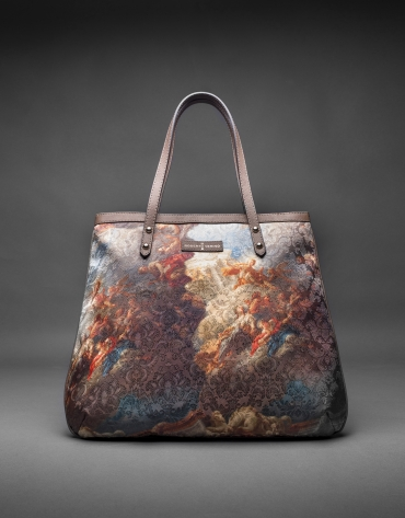 Birdy Vinci  bag with print fabric and gold laminated cork