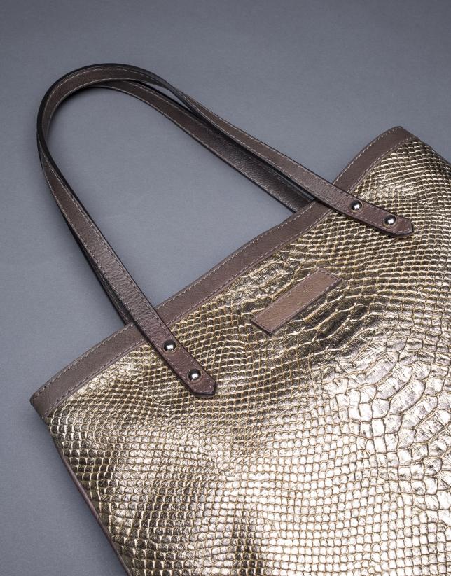 Bolso Birdy Vinci  en tejido estampado y corcho laminado oro