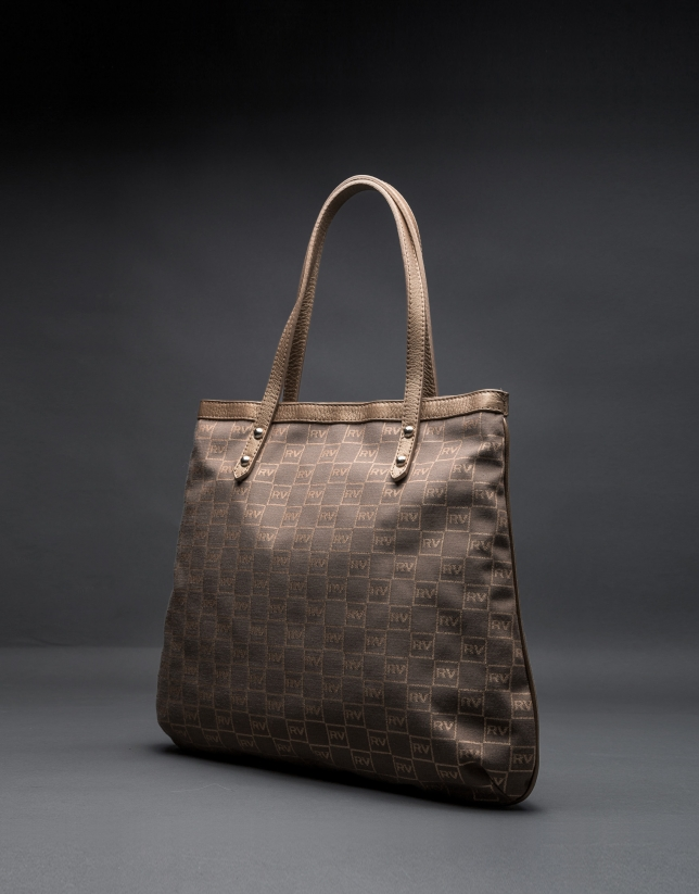 Birdy jacquard bag with RV logo, gilded lurex and metallic leather