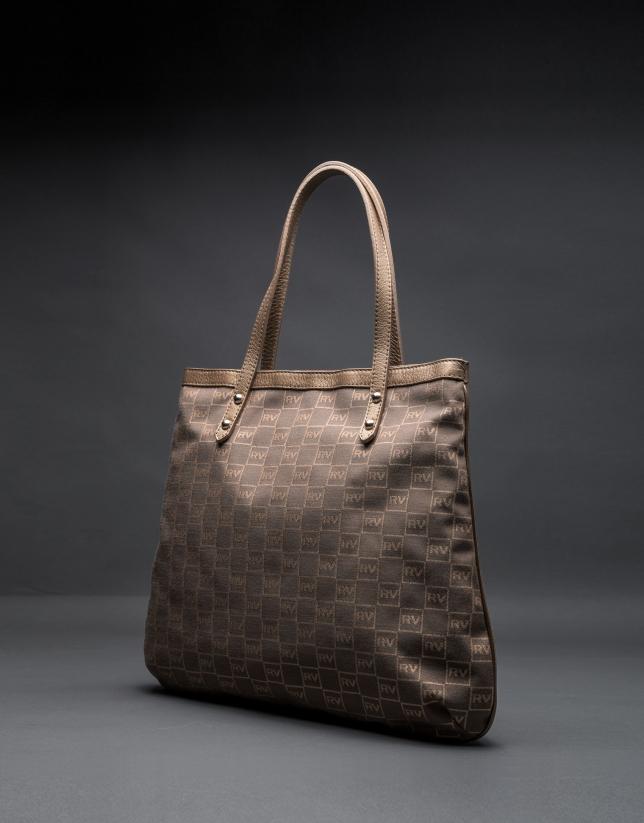 Shopping Birdy Vinci Jacquard RV gris taupe avec lurex or et cuir vachette métallisé
