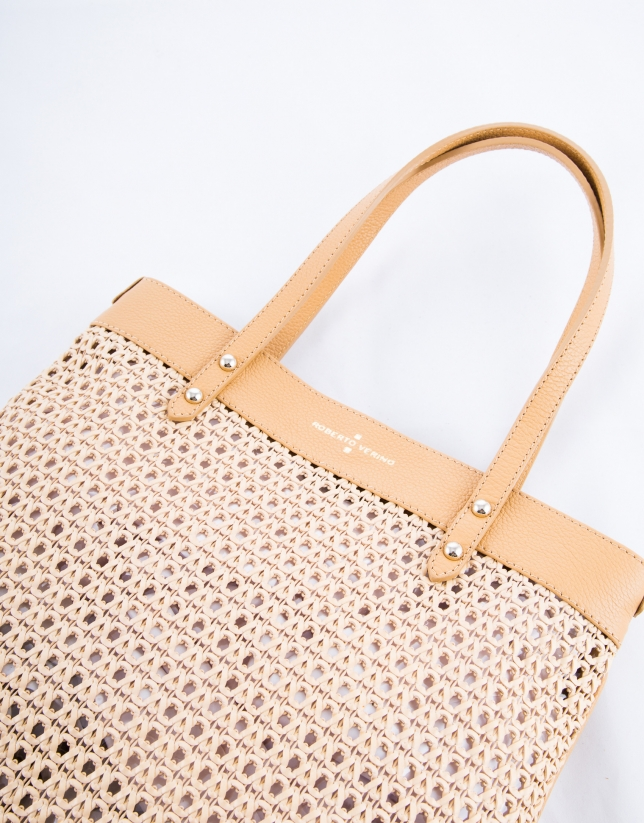 Taupe Birdy Mix braided leather shopping bag