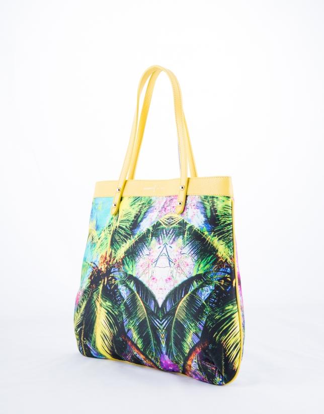 Birdy Miami : sac shopping en cuir vachette jaune, motif tropical en tissu