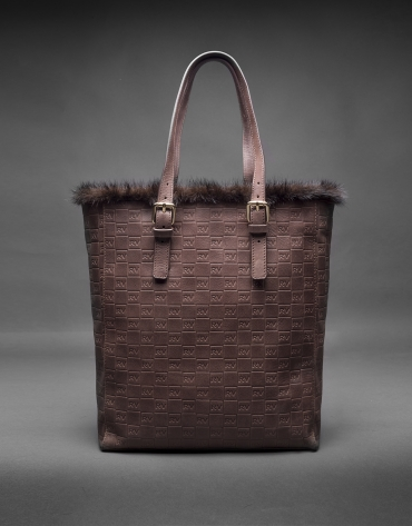 Shopping Eve gravure RV cuir marron et liseré fourrure vison