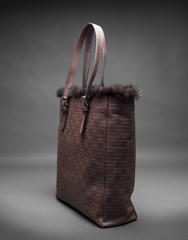 Brown leather Eve bag with embossed RV and mink fur trimming