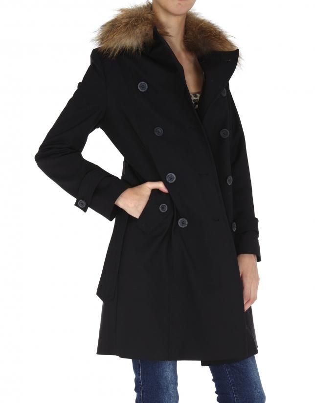 Black raincoat with beige raccoon collar