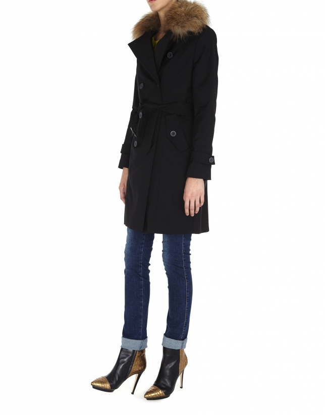 Black raincoat with beige raccoon collar