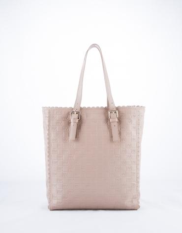 Eve Onda : sac shopping en cuir vachette, couleur nude, gravure RV
