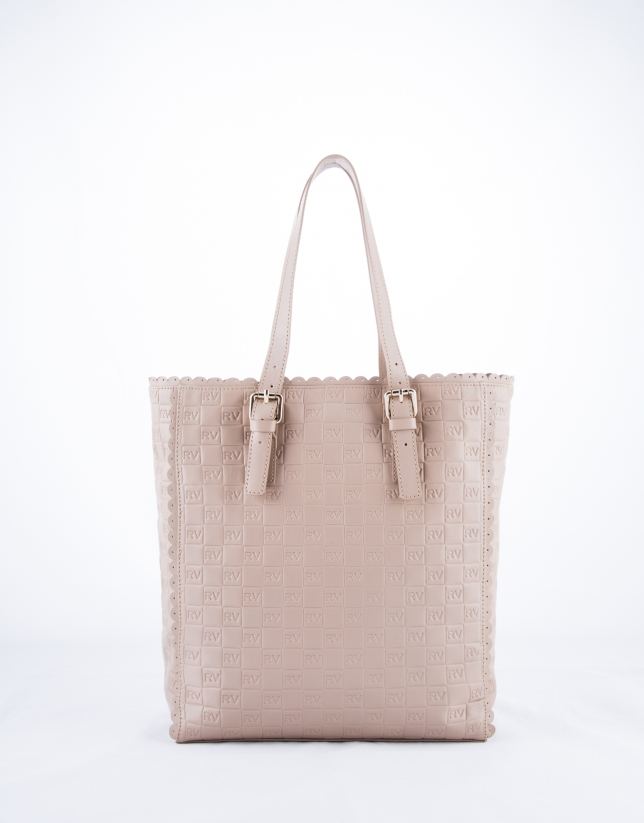 Bolso Shopping Eve Onda piel grabado RV color nude