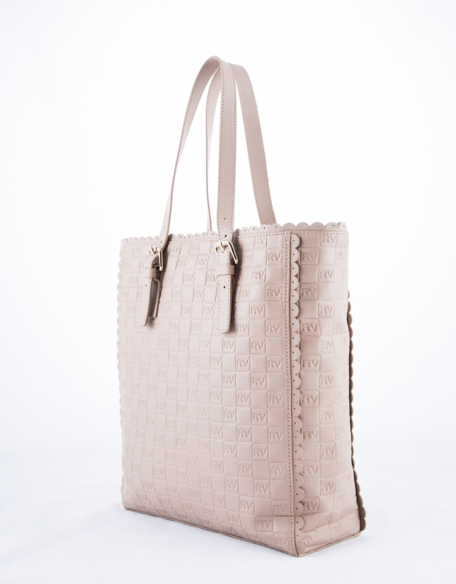 Nude leather Eve Onda embossed logo shopping bag