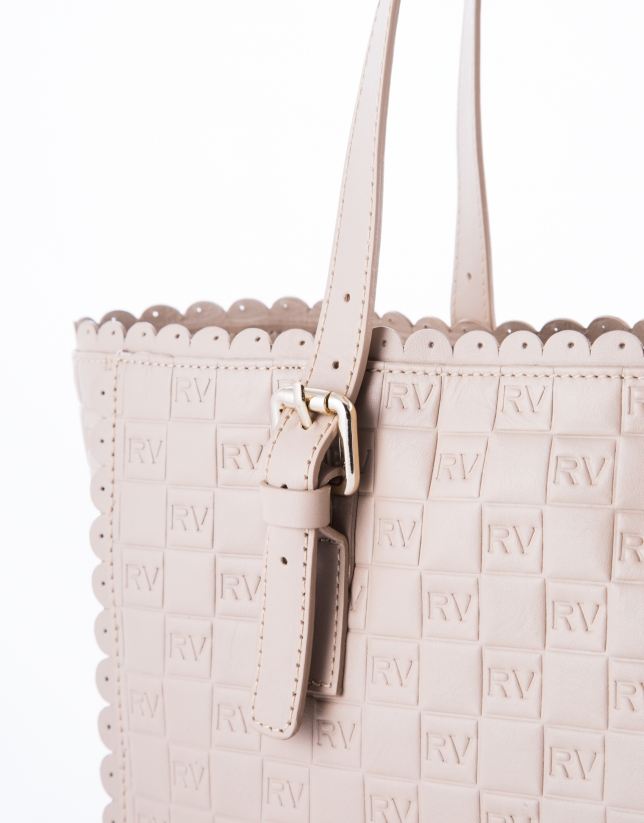 Nude leather Eve Onda embossed logo shopping bag