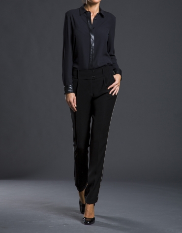 Chemise fantaisie avec paillettes noir