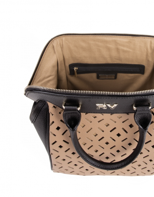Die cut cowhide satchel