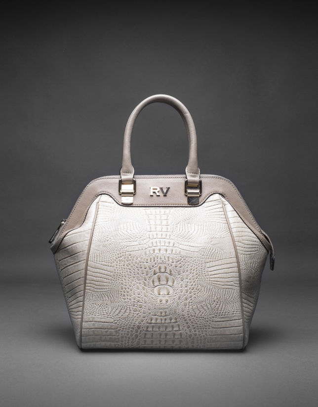 Smooth leather Jude bag with embossed alligator