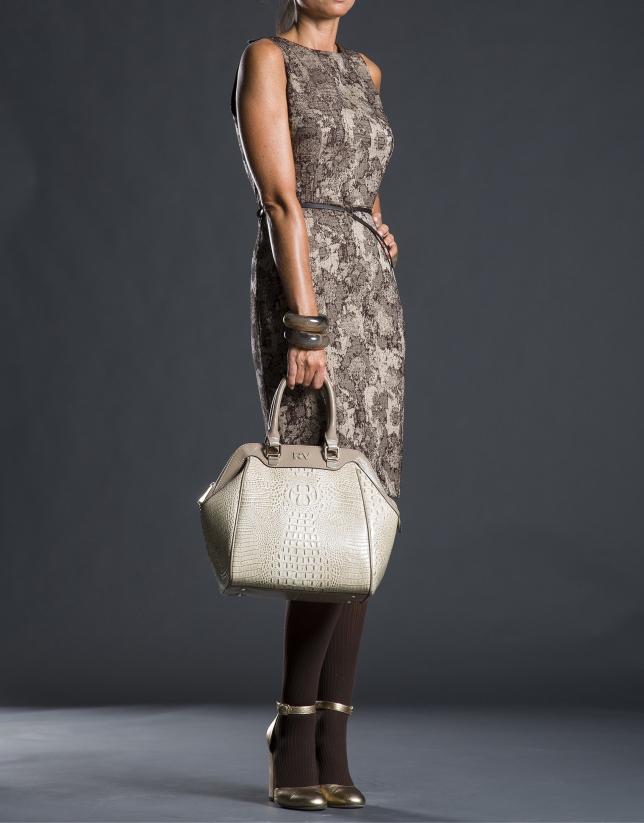 Satchel Jude cuir imprimé crocodile et lisse gris taupe