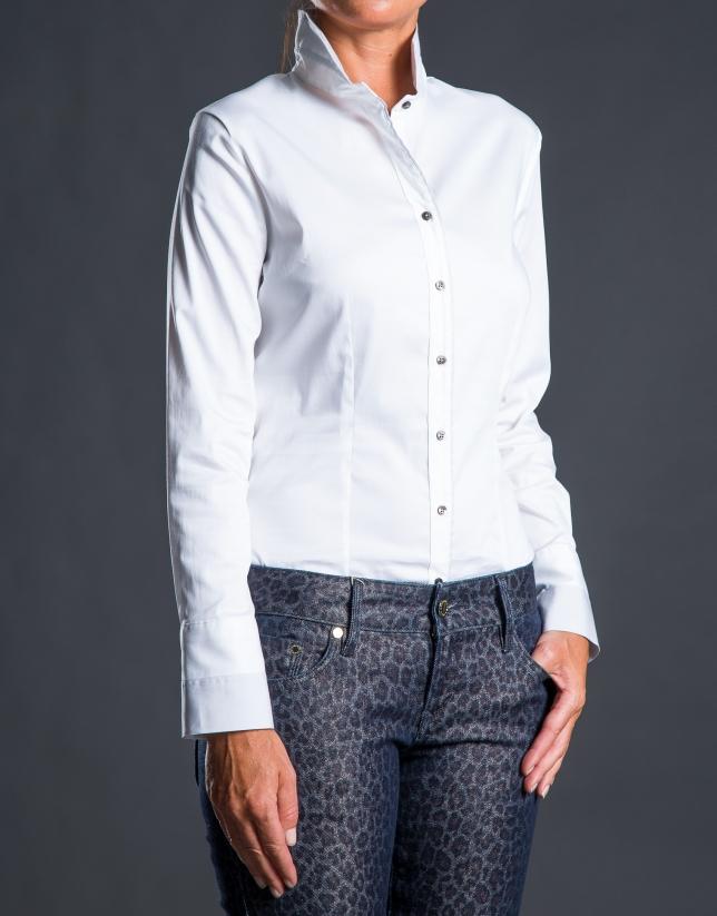 Chemise col cheminée blanc