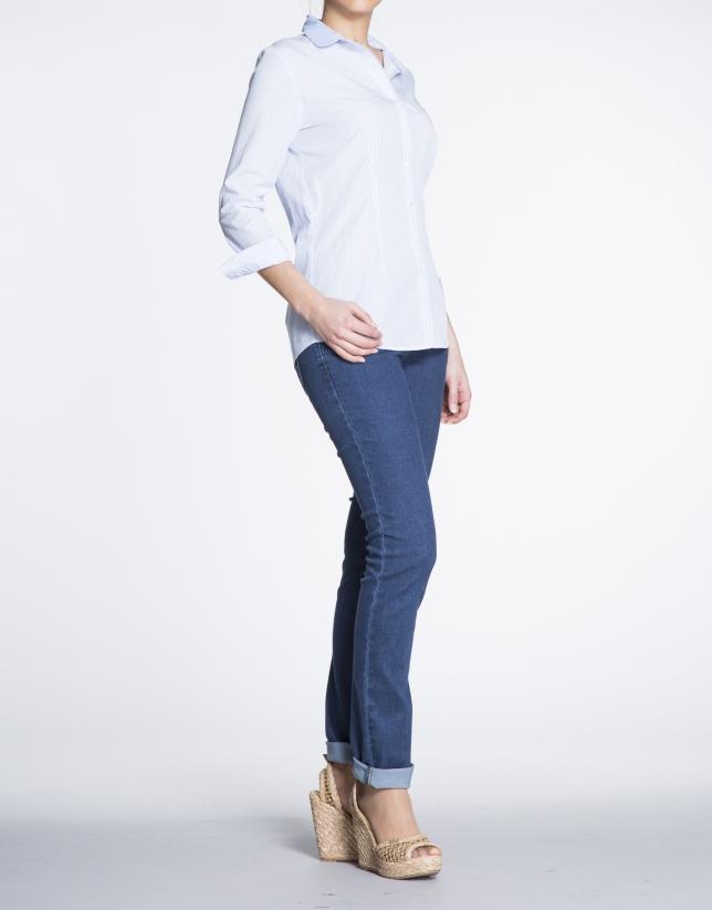 Camisa manga larga listas azul y blanco