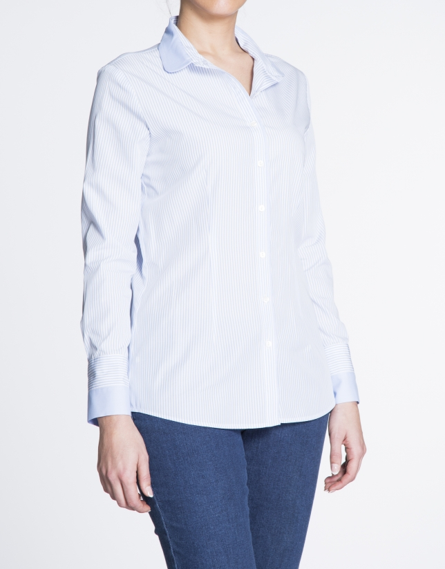 Long sleeve white and blue  striped shirt
