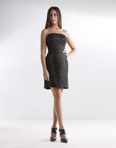 Black strapless dress with gold glitter