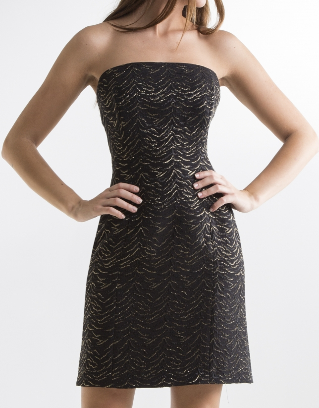 Black strapless dress with gold glitter